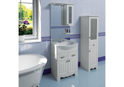 Шкаф зеркальный Гент 60, белый матовый