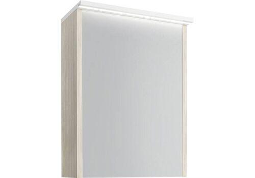 Шкаф зеркальный Марино 50, led-подсветка, белый с выбеленным деревом